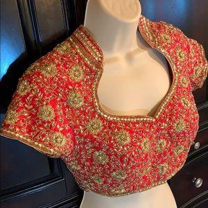 Indian sari Choli Lehenga jeweled embroidered crop